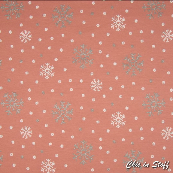 French Terry geraut - Glitzer Snow Christal Rosewood